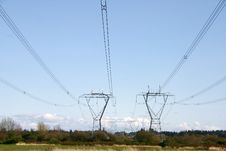 Free Power Line Tower Royalty Free Stock Image - 13895126