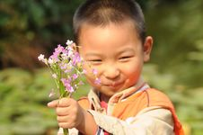 Free Boy Holding A Bunch Of Clover Flowers Royalty Free Stock Images - 13895299