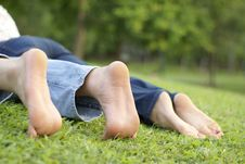 Free Couple S Feet At Park Royalty Free Stock Images - 13895939