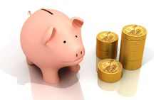 Free Piggy Bank And Gold Coins Royalty Free Stock Image - 13896316