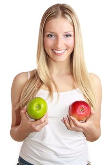 Free Woman With Apple Stock Image - 13897351