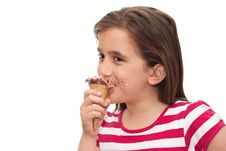 Free Small Girl Eating An Ice Cream Cone Royalty Free Stock Images - 13897389