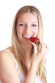 Free Woman Eating Strawberry Stock Photo - 13897420