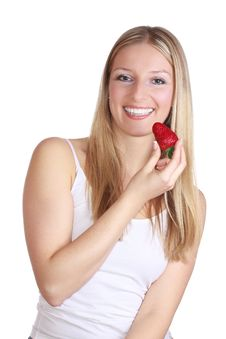 Free Girl With Strawberry Royalty Free Stock Photography - 13897427