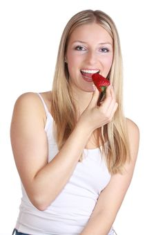 Girl With Strawberry Stock Image