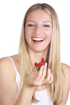 Free Girl With Strawberry Stock Image - 13897441