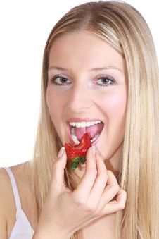 Free Girl With Strawberry Stock Image - 13897451