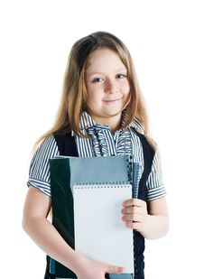 Free Cute Schoolchild With Notebooks Stock Photo - 13897500