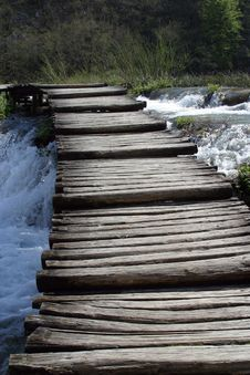 Wooden Pathway In Plitvice Lakes Stock Photography