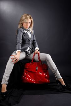 Free Woman With Red Bag Stock Image - 13897881