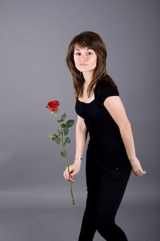 Free Beautiful Girl With Rose Stock Photos - 13897933