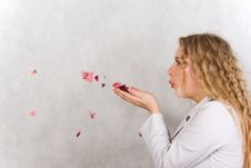 Free The Girl And Petals. Stock Photo - 13898110