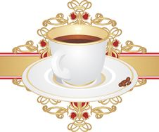 Free Cup With Coffee And Corns On The Ornament Royalty Free Stock Image - 13898256