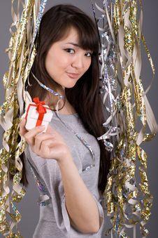 Free Girl Standing Among Tinsel Royalty Free Stock Photos - 13898318