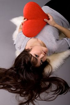Free Beautiful Woman Holding Heart Royalty Free Stock Images - 13898439