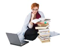 Free Girl With Books And Laptop Stock Images - 13898564