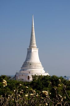 White Pagoda On Hill, Petchaburi, Thailand Royalty Free Stock Image