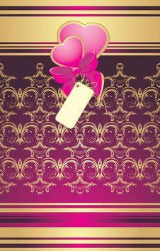 Bow With Hearts On The Decorative Background Royalty Free Stock Photos