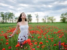 Free Girl With Poppies Stock Photos - 13899753
