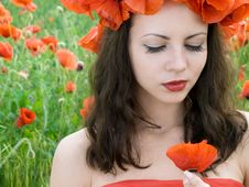 Free Girl With Poppies Royalty Free Stock Photo - 13899765