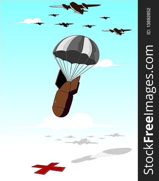 Falling bomb illustration