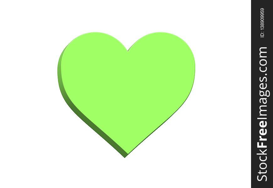 3d heart green color shape