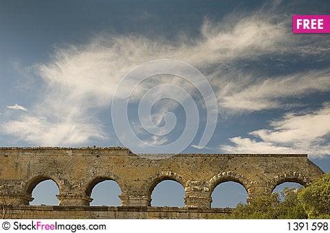 Ancient Roman Aqueduct, the Pont Du Gard, France Stock Photo