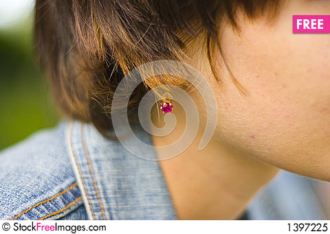 Red Ear-ring Stock Photo