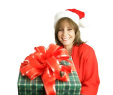 Free Santa S Helper With Gift Royalty Free Stock Images - 1390189