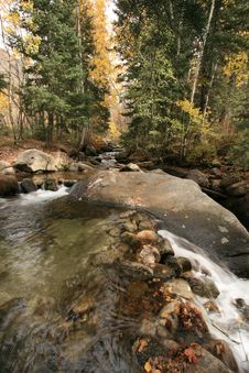 Creek In Fall With Aspens 6 Royalty Free Stock Photo