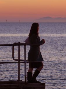 Free Girl On A Pier Royalty Free Stock Photo - 1392275