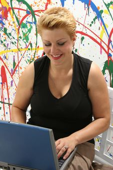 Free Woman With Laptop Stock Photos - 1392953