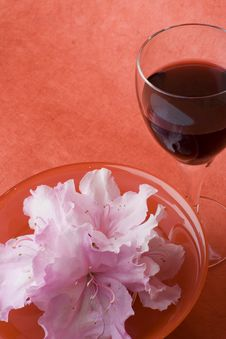 White Azaleas, Red Bowl, Glass Of Wine Stock Photos