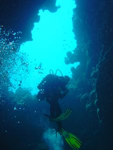 Free Diver Ascends Royalty Free Stock Photos - 1396428