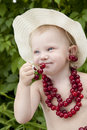 Free Girl With Red Cherry Beads And Earrings Royalty Free Stock Image - 13909056