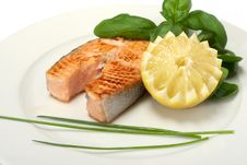 Free Roasted Salmon Steak Stock Photography - 13900232