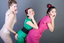 Free Three Happy Retro-styled Girls Royalty Free Stock Image - 13900316