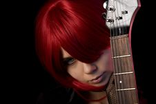 Free Vampire Girl With Guitar Stock Photos - 13900343