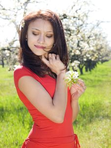 Free Girl In Spring Garden Stock Images - 13900424