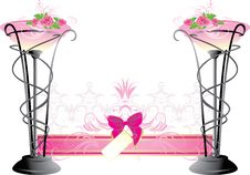 Free Two Vases With Pink Roses. Wedding Composition Royalty Free Stock Image - 13901096