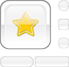Free Star White Button. Stock Image - 13901101