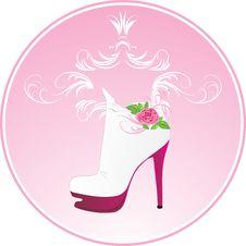 Elegant Female Shoes. Sticker Royalty Free Stock Photos