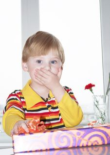 Free The Boy With A Gift Stock Photography - 13901812