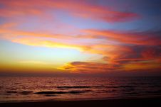 Free Bright Sunset On The Seaside. Stock Photography - 13901832