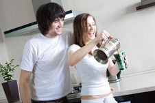 Free Boy And Girl With Cup And With Teapot Royalty Free Stock Images - 13901849