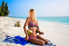 Beautiful Woman With Coconuts Royalty Free Stock Images