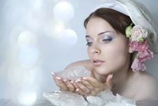 Lady-spring And Ice Royalty Free Stock Image