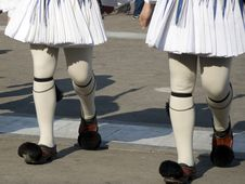 Free Changing Of The Guards - White Kilts - Greece Stock Image - 13903081