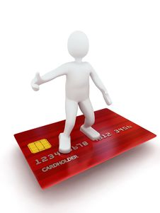 Free 3d Person On Credit Card Royalty Free Stock Photo - 13903255