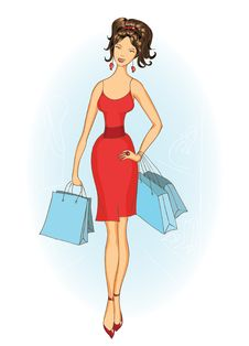 Shopping Girl With Shopping Bags Royalty Free Stock Images